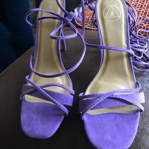 b959f754b9af Missguided Shoes - cross lace up barely there heeled sandals lilac